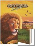 Big Buck Safari Lion Cabinet Art with Logo Wood Print by John Youssi