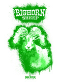 Big Horn Sheep Spray Paint Green Poster di Anthony Salinas