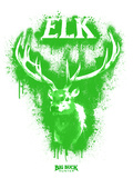 Elk Spray Paint Green Poster di Anthony Salinas