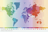 World Time Zone Map Giclee Print by Tom Frazier