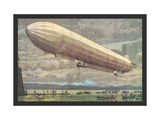 Zeppelin above Lake Constance Metal Print
