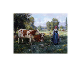 Laitiere Gardant ses Vaches Premium Giclee Print by Julien Dupre