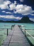 Landschaftsaufnahme des Docks von Motu Tapu, BoraBora Alu-Dibond von Barry Winiker