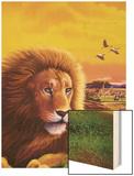 Big Buck Safari Lion Cabinet Art Wood Print by John Youssi