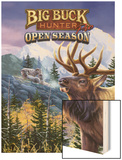 Big Buck Pro Open Season Cabinet Art with Logo Wood Print by John Youssi