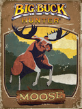 Vintage Moose Poster Plastic Sign by Anthony Salinas