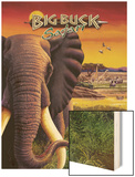 Big Buck Safari Elephant Cabinet Art  with Logo Wood Print by John Youssi