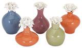 Crestlin Porcelain Bottles with Flower Stopper - Set of 5 Home Accessories