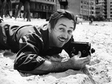 Film Maker Walt Disney Filming on Brazilian Beach Metal Print by Hart Preston