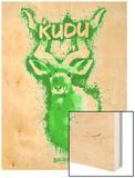 Kudo  Spray Paint Green Wood Print by Anthony Salinas