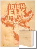 Irish Elk Spray Paint Orange Wood Print by Anthony Salinas
