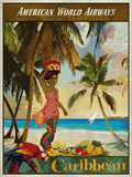 Vintage Travel Caribbean Gicléetryck av  The Portmanteau Collection