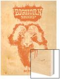Big Horn Sheep Spray Paint Orange Wood Print by Anthony Salinas