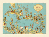 Caribbean Map: Sunshine and Happiness Giclée-Premiumdruck von  The Vintage Collection