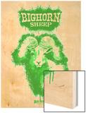 Big Horn Sheep Spray Paint Green Wood Print by Anthony Salinas