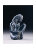 Seated Scribe, New Kingdom, 1391-1353 BC (Greywacke) Metal Print by  Egyptian 18th Dynasty