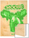 Moose Spray Paint Green Wood Print by Anthony Salinas