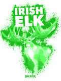 Irish Elk Spray Paint Green Poster di Anthony Salinas