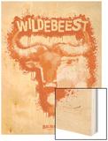 Wildebeest Spray Paint Orange Wood Print by Anthony Salinas