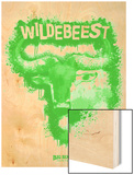 Wildebeest Spray Paint Green Wood Print by Anthony Salinas