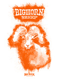 Big Horn Sheep Spray Paint Orange Decalcomania da muro di Anthony Salinas