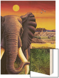 Big Buck Safari Elephant Cabinet Art Wood Print by John Youssi
