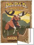 Vintage Moose Poster Wood Print by Anthony Salinas