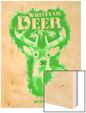 Whitetail Deer Spray Paint Green Wood Print by Anthony Salinas