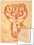 Whitetail Deer Spray Paint Orange Wood Print by Anthony Salinas