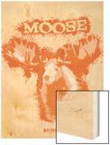 Moose Spray Paint Orange Wood Print by Anthony Salinas