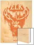 Elk Spray Paint Orange Wood Print by Anthony Salinas