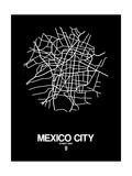 Mexico City Street Map Black Giclée-Premiumdruck von  NaxArt