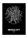 Mexico City Street Map Black Prints by  NaxArt