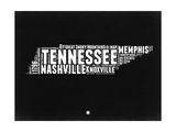 Tennessee Black and White Map Print by  NaxArt