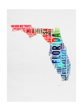 Florida Watercolor Word Cloud Prints by  NaxArt