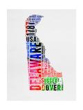 Delaware Watercolor Word Cloud Prints by  NaxArt