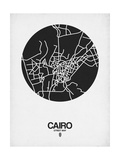 Cairo Street Map Black on White Prints by  NaxArt