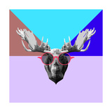 Party Moose in Glasses Posters by Lisa Kroll