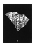 South Carolina Black and White Map Art by  NaxArt