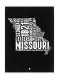 Missouri Black and White Map Posters by  NaxArt