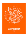 Amsterdam Street Map Orange Print by  NaxArt