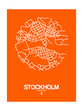 Stockholm Street Map Orange Prints by  NaxArt
