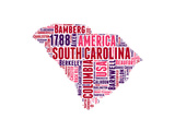 South Carolina Word Cloud Map Prints by  NaxArt