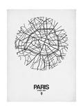 Paris Street Map White Affiche par  NaxArt