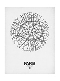 Paris Street Map White Planscher av  NaxArt