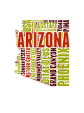 Arizona Word Cloud Map Prints by  NaxArt