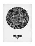 Madrid Street Map Black on White Poster by  NaxArt
