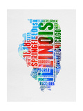 Illinois Watercolor Word Cloud Posters by  NaxArt