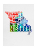 Missouri Watercolor Word Cloud Prints by  NaxArt