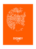 Sydney Street Map Orange Posters by  NaxArt